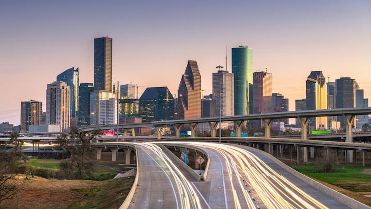 Houston skyline and highway