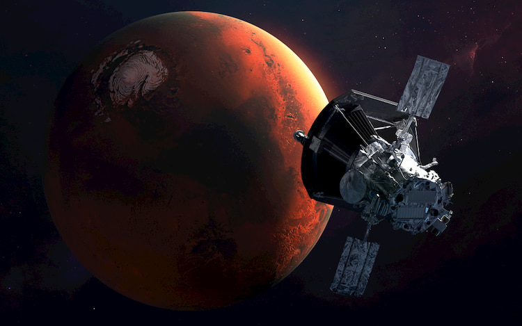 Mars and satellite floating in space