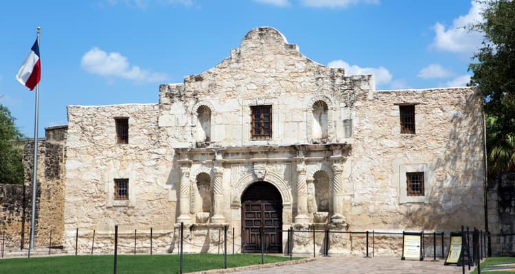 the exterior of the alamo in daytime