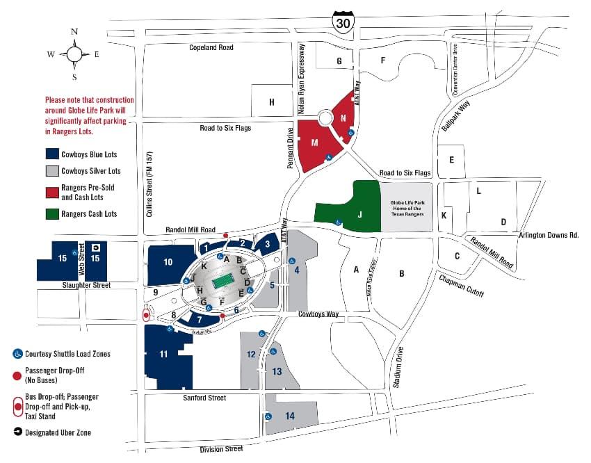 parking map at AT&T Stadium