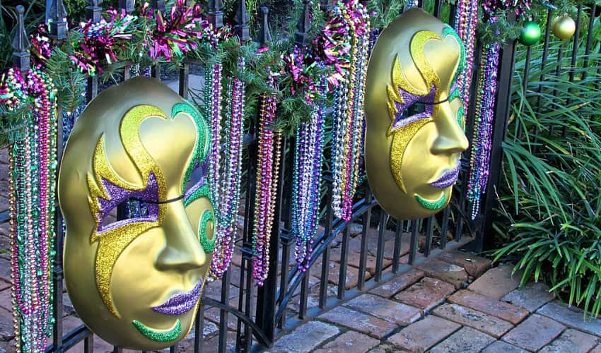 mardi gras mask decorations in galveston