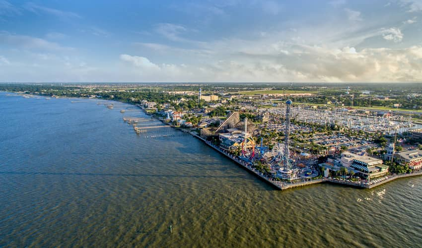 An aerial view of the Kemah Borardwalk in South Texas
