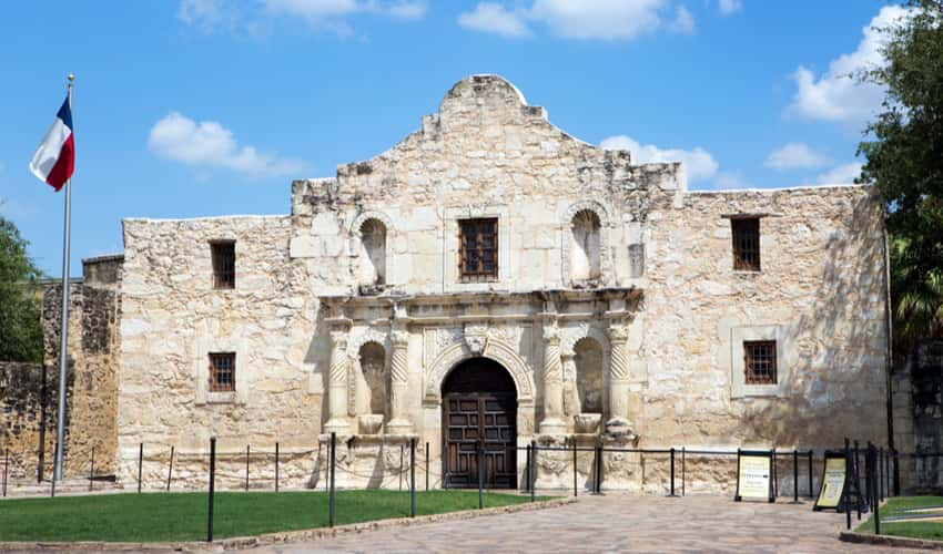 The exterior of The Alamo in San Antonio