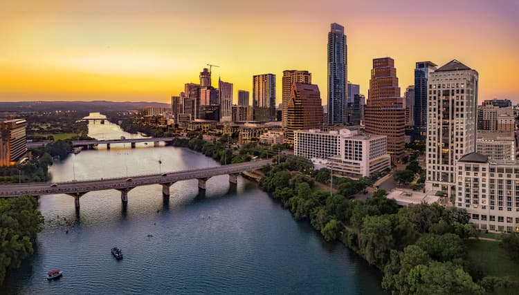 austin texas skyline at sun set