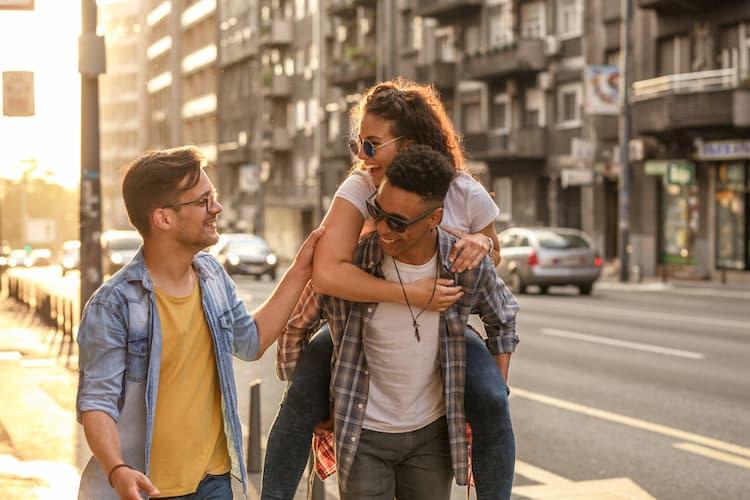 Friends exploring city