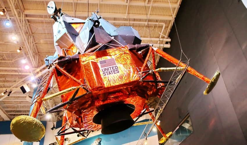 A moon lander on display at Space Center Houston