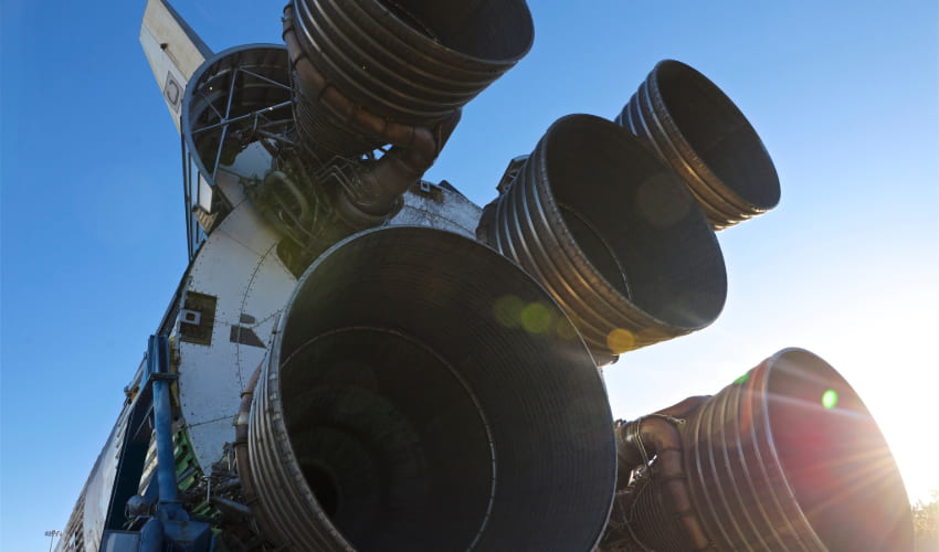 The Saturn V rocket on display at Space Center Houston