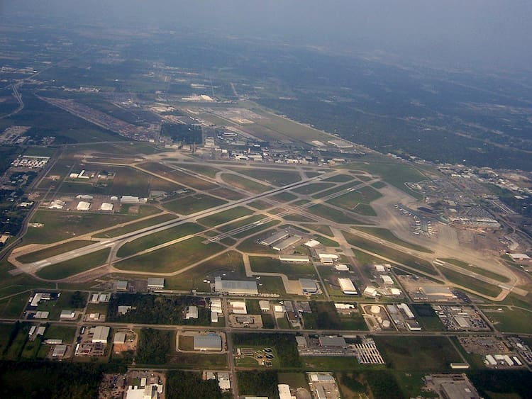 an aerial view of william p. hobby airport's runways