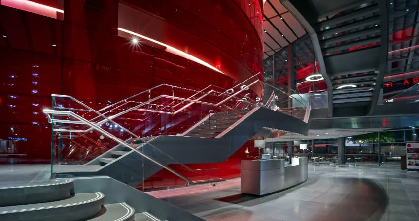 The sleek and modern interior of the Winspear Opera House in Dallas