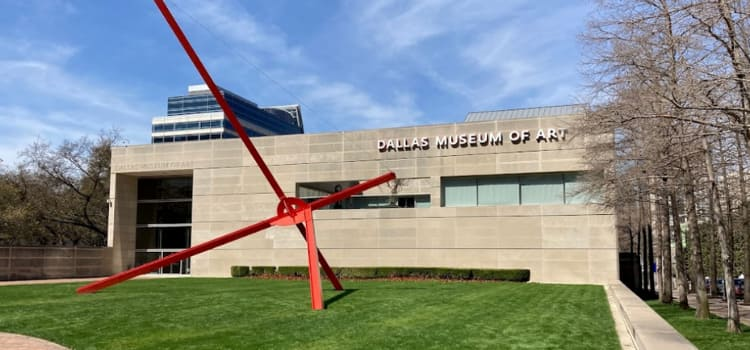the exterior sculpture and entrance to the dallas museum of art