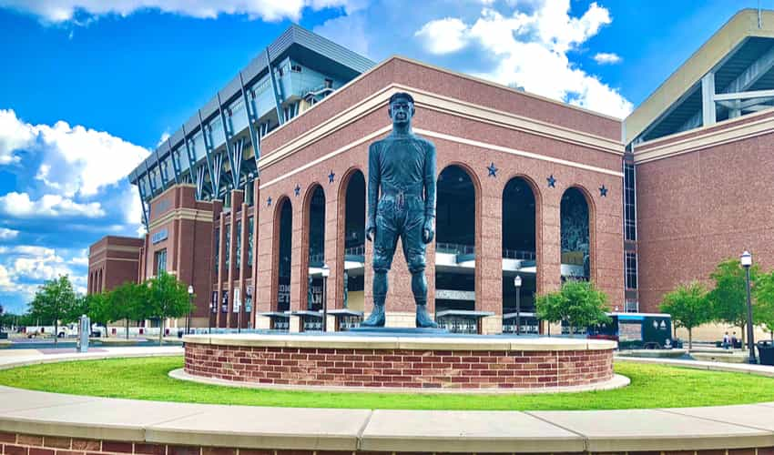 The 12th man statue at Kyle Field at Texas AM University