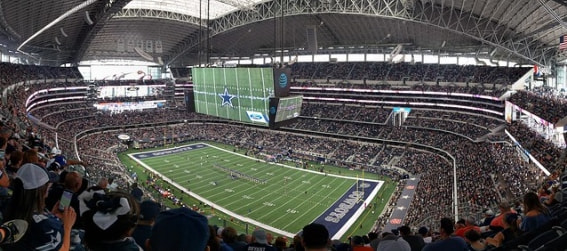 AT&T Stadium interior filled with fans