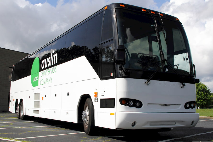 a bus prepares to depart for a trip in Austin, Texas