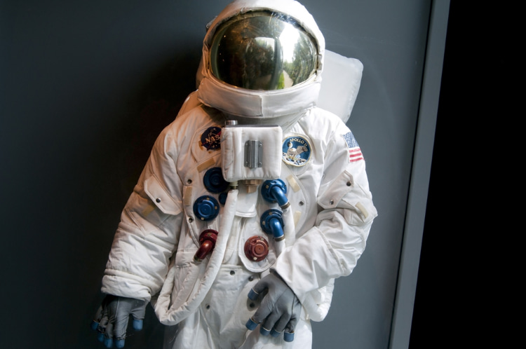 space suit on display at a museum