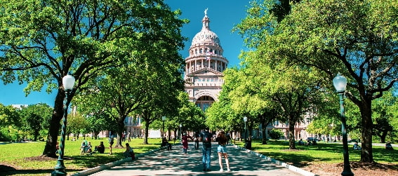 the green space in front of Texas State Capitol